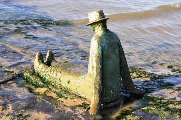 Seaside Statue Sitting Man